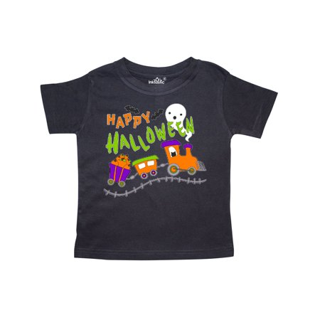 Happy Halloween- train with pumpkins, bats, cat,and ghost Toddler T-Shirt](Halloween Games Ghost Train)