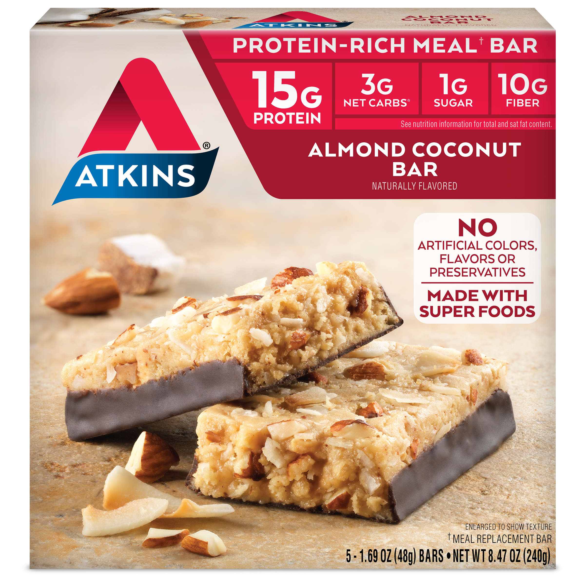 Atkins Almond Coconut Bar, 1.7oz, 5-pack (Meal Replacement)