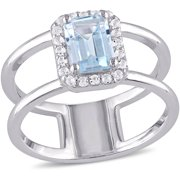 1-3/5 Carat T.G.W. Sky Blue Topaz and White Topaz Sterling Silver Two-Row Halo Ring