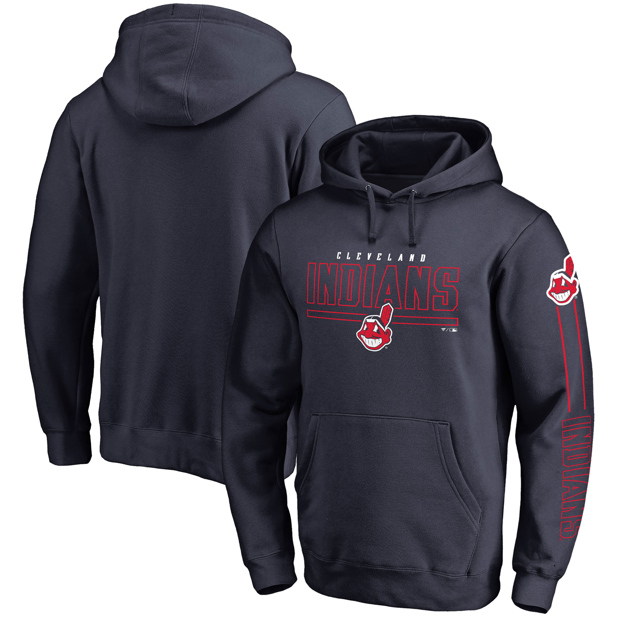 Cleveland Indians Fanatics Branded Front Line Pullover Hoodie - Navy