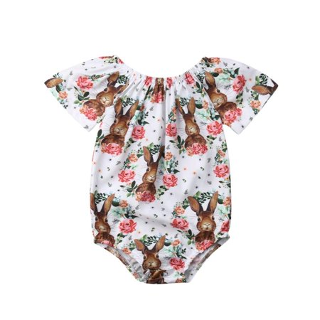 Cute Newborn Infant Baby Girl Easter Romper Bunny Bodysuit Short Sleeve Shirt Floral Outfit