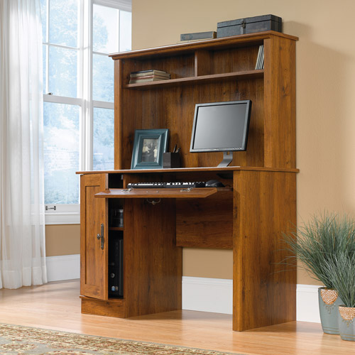 Bon Sauder Harvest Mill Computer Desk With Hutch, Abbey Oak Finish