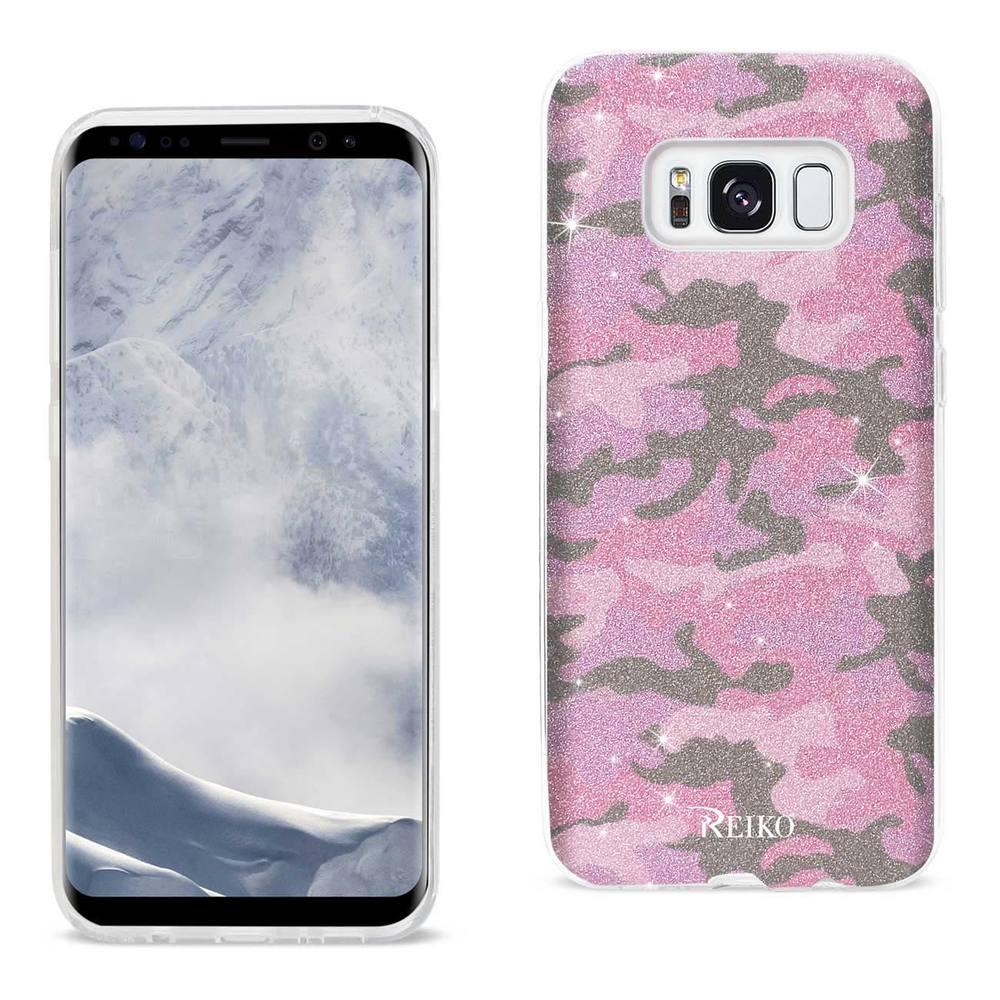 Reiko REIKO SAMSUNG GALAXY S8 EDGE SHINE GLITTER SHIMMER CAMOUFLAGE HYBRID CASE IN HOT PINK