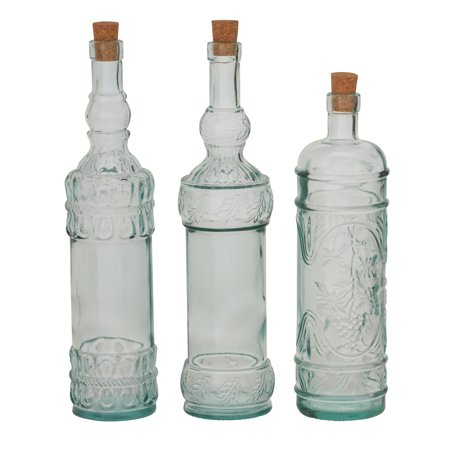 Sassy Set Of 3 Glass Stopper Bottle