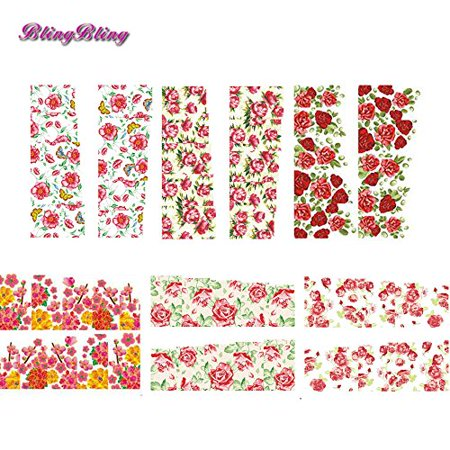 BlingBling Nails Art Water Transfer Stickers Full Cover Nail Wraps Manicure Fingernail Decals Red Rose Flower Floral Design 6 sheets](Halloween Fingernails Designs)