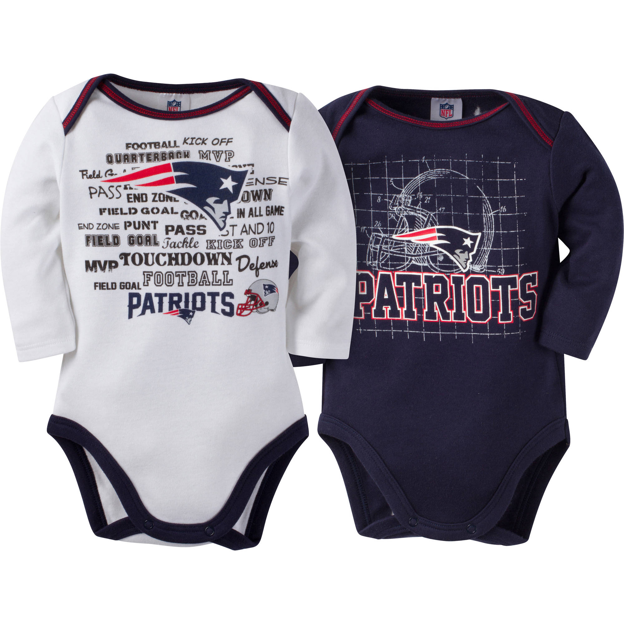 NFL New England Patriots Baby Boys Long Sleeve Bodysuit Set, 2-Pack