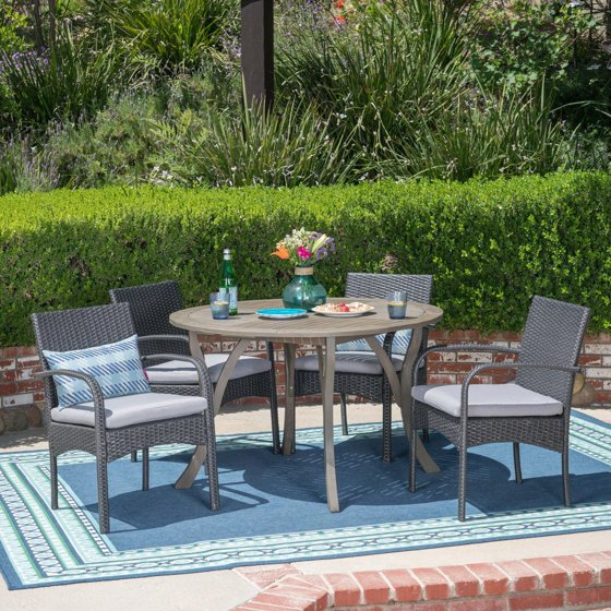 Christopher Knight Home Chilton Outdoor 5 Piece Acacia Wood And Wicker Dining Set By Grey