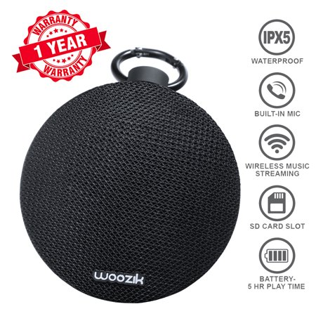 Woozik Go Portable Wireless Bluetooth 4.2 Waterproof Speaker with SD Card Slot, and Built-in Mic and