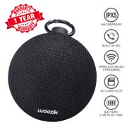 Woozik Go Portable Wireless Bluetooth 4.2 Waterproof Speaker with SD Card Slot, and Built-in Mic and Clip