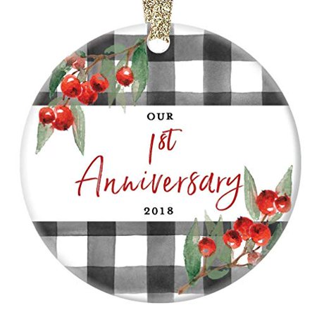 1st Anniversary Ornament First Wedding Christmas 2019 One 1 Year Married Ceramic Holiday Collectible for Husband Wife Spouse Partner Mate 3