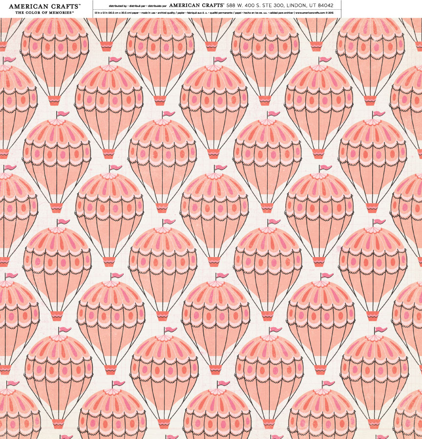 """American Crafts Crate Paper Maggie Holmes Carousel 12"""" x 12"""" Hot Air Balloons Cardstock - Double-Sided Paper, Archival Quality - 25 Sheets"""