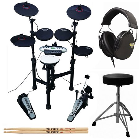 Carlsbro CSD130 9-Piece Compact Electronic Drum Kit + Cannon UP197 Drum Throne + Drummer Isolation Headphones + Vic Firth American Classic 5A Drum