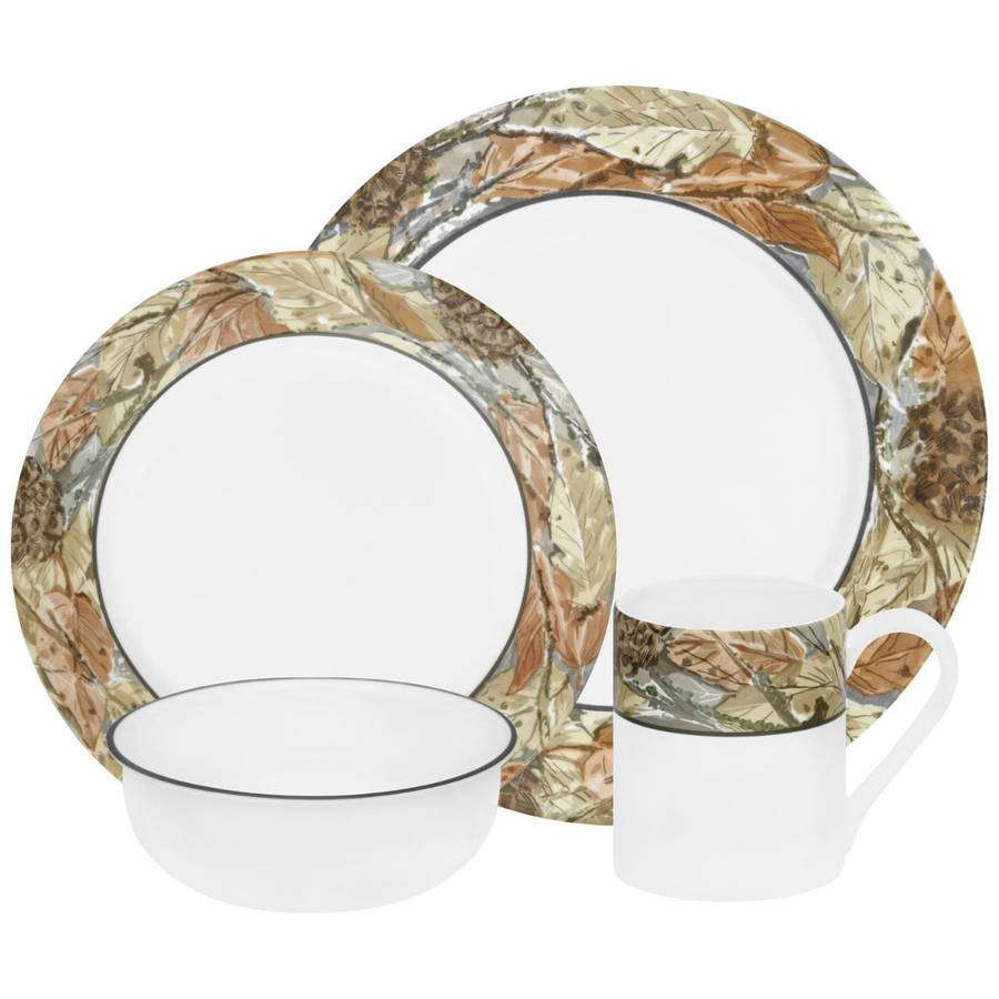 Corelle Impressions Woodland Leaves 16-Piece Dinnerware Set