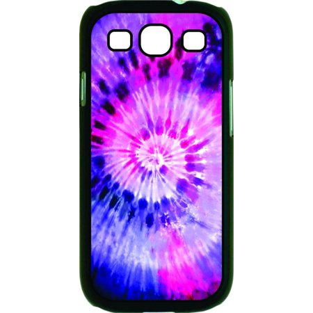 Pink and Purple Tie Dye Print Design Hard Black Plastic Case Compatible with the Samsung Galaxy s3 i9300 - Compatible Dye