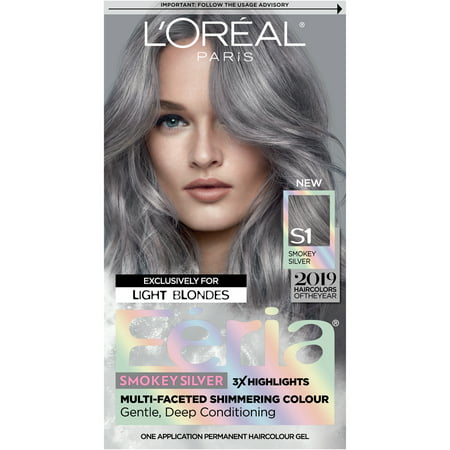L'Oreal Paris Feria Multi-Faceted Shimmering Permanent Hair Color, Smokey Silver, 1 kit - Silver Hair Paint