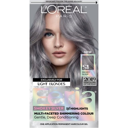 L'Oreal Paris Feria Multi-Faceted Shimmering Permanent Hair Color, Smokey Silver, 1