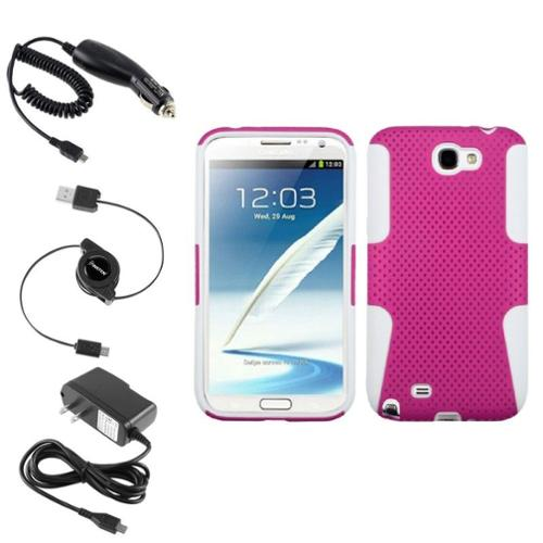 Insten White/Pink Hybrid Case Car Home Charger Cable For Samsung Galaxy Note 2 II
