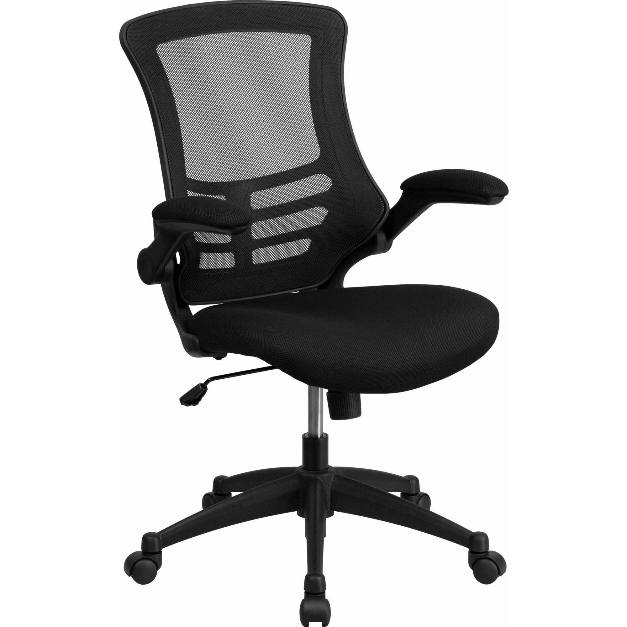 flash furniture midback black mesh swivel task chair with mesh padded seat and flip - Black Chair