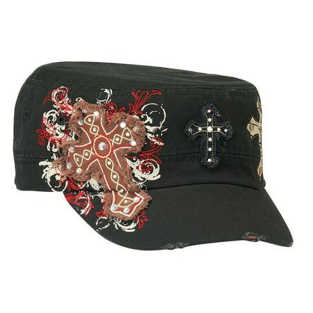 - Blazin Roxx Women's Military Style Cross Design Cap Black OS