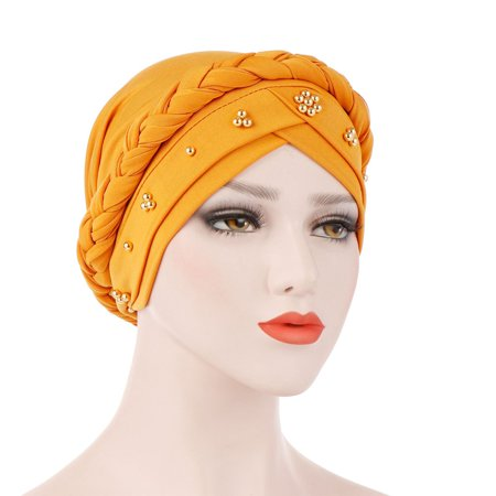 Fancyleo Women Muslim Turban Cotton Bandanas 2019 Fashion Spring Color Solid Beaded Braid Women Headwraps Hair Accessories