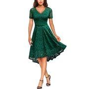 Women's Floral Lace Swing Dresses,Vintage 1950s Cocktail Party Dresses, Dark Green, Large, MIU#3815