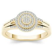 1/6Ct TDW Diamond 10K Yellow Gold Cluster Halo Engagement Ring