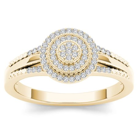 1/6Ct TDW Diamond 10K Yellow Gold Cluster Halo Engagement Ring ()