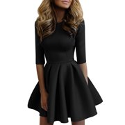 Skater Dresses for Women Casual Short Mini Round Neck Above Knee Evening Cocktail Party 3/4 Sleeve Swing Skirt Dress