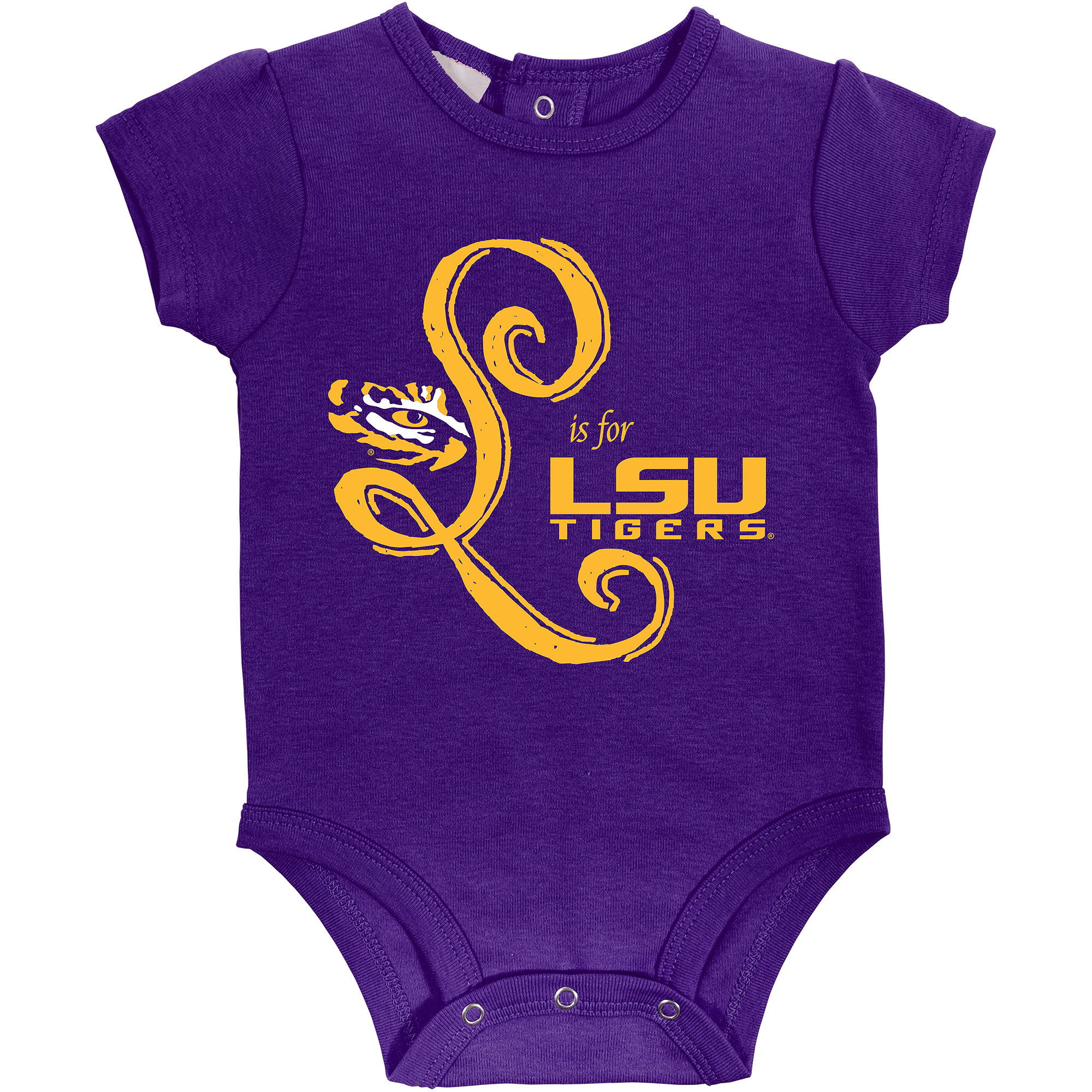 Russell NCAA LSU Tigers, Baby Girl 3 Piece Short Sleeve Bodysuit Set