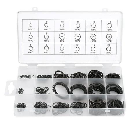 Garosa 300Pcs 2-32mm E-Clip Snap Circlip Kit External Retaining Ring Assortment Set,Circlip Kit,E-Clip Kit - image 5 of 7