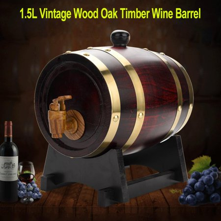 HERCHR 1.5L Vintage Wood Oak Timber Wine Barrel for Beer Whiskey Rum Port, Oak Timber Wine Barrel, Wine Barrel