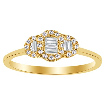 Baguette & Round Cut White Diamond Three Stone Engagement Ring In 10K Solid Gold (0.2 Cttw)