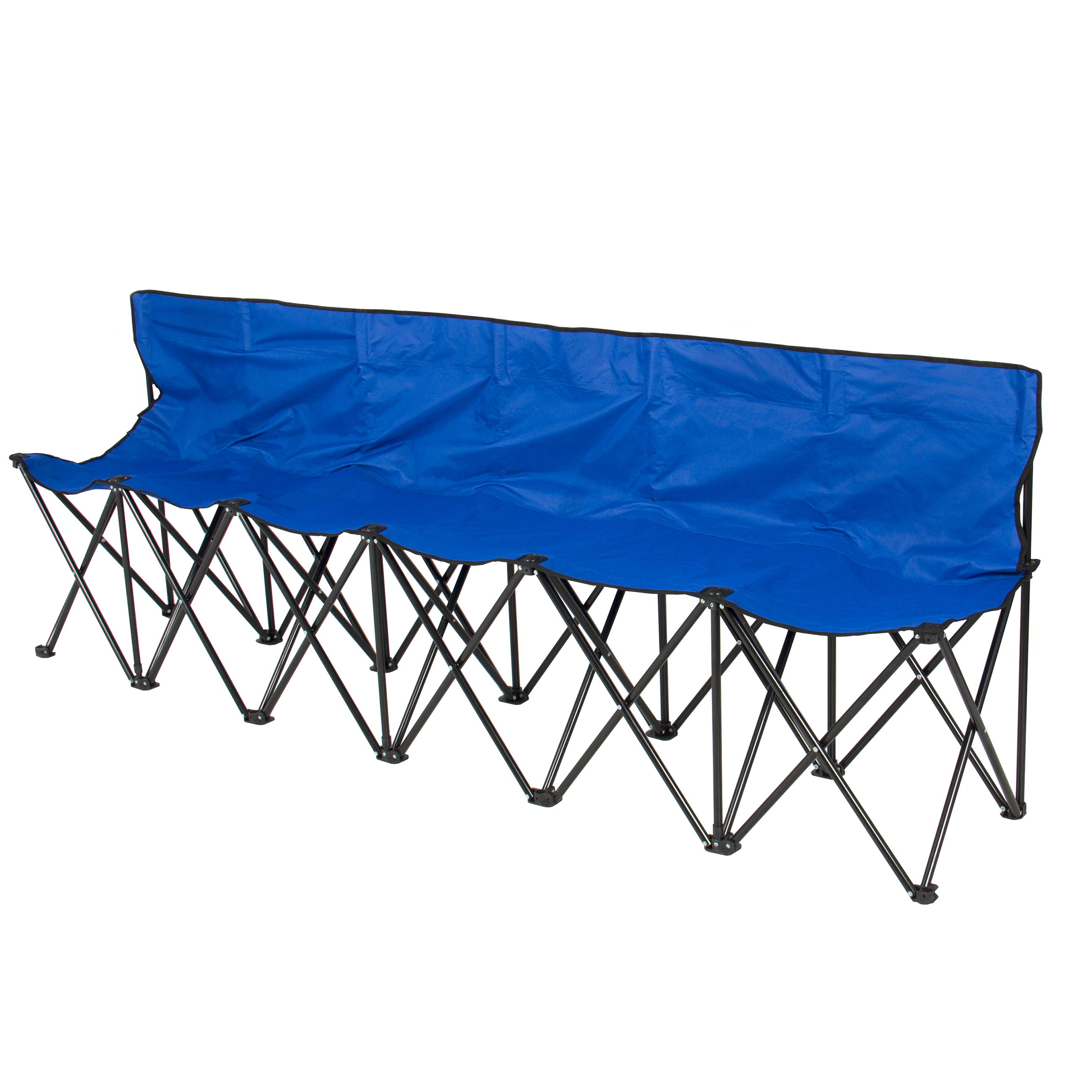 Best Choice Products 6 Seat Portable Folding Bench For Camping Sports Sideline W Steel Frame Carry Case Blue