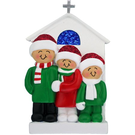 Family at Church 3 People Personalized Christmas Ornament DO-IT-YOURSELF