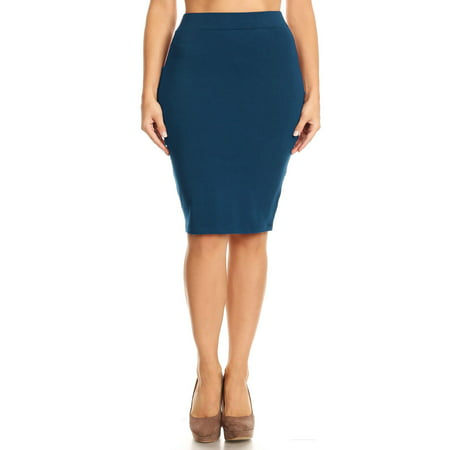 NEW MOA Women's Solid Casual Comfy Basic Simple Sexy Band Waist Knee Pencil Skirt