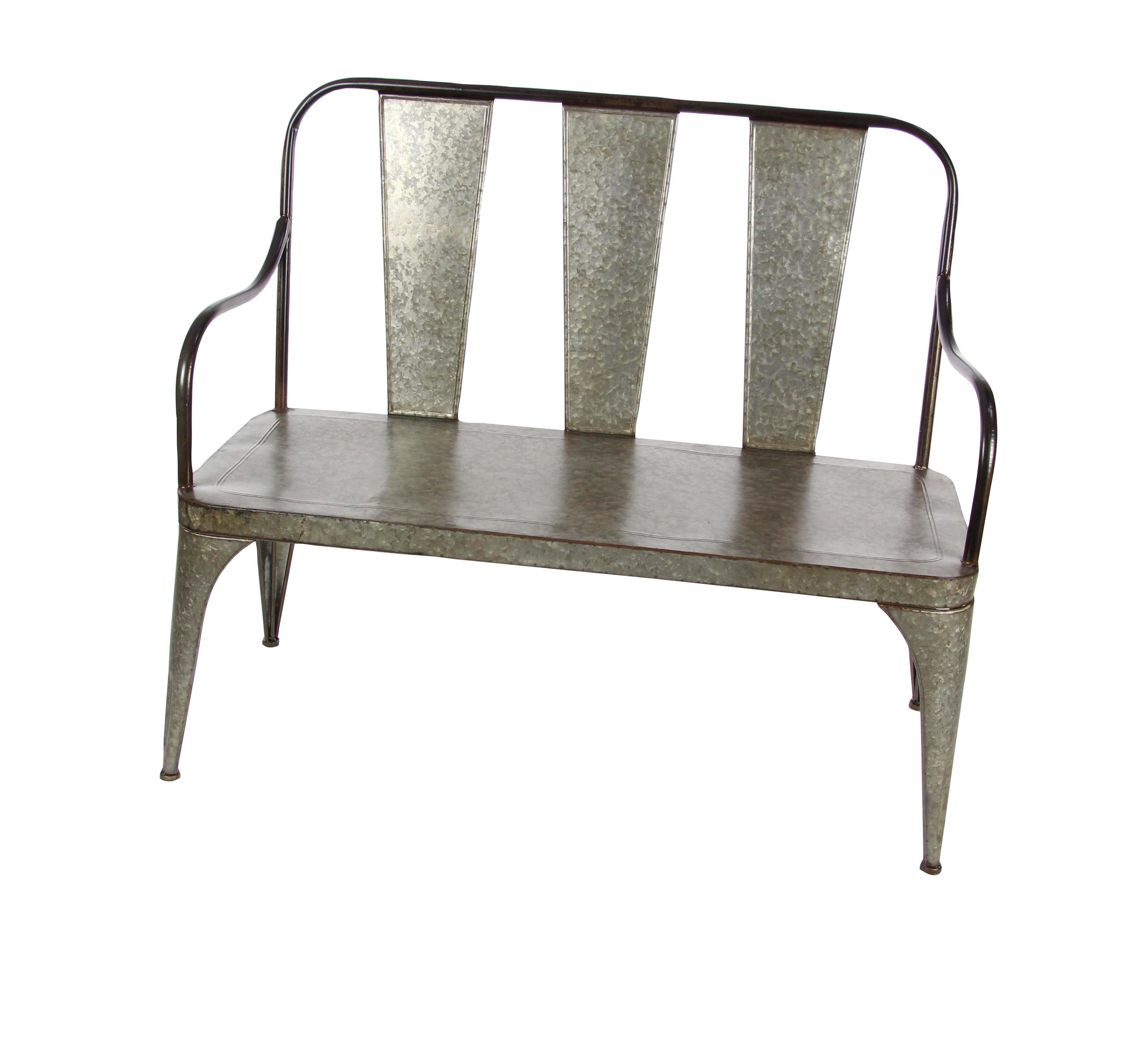 Decmode Galvanized Silver Metal Outdoor Bench 45 X 40 Walmart Com Walmart Com