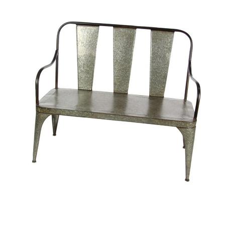 Decmode Farmhouse 40 x 45 inch gray Metal bench, Gray