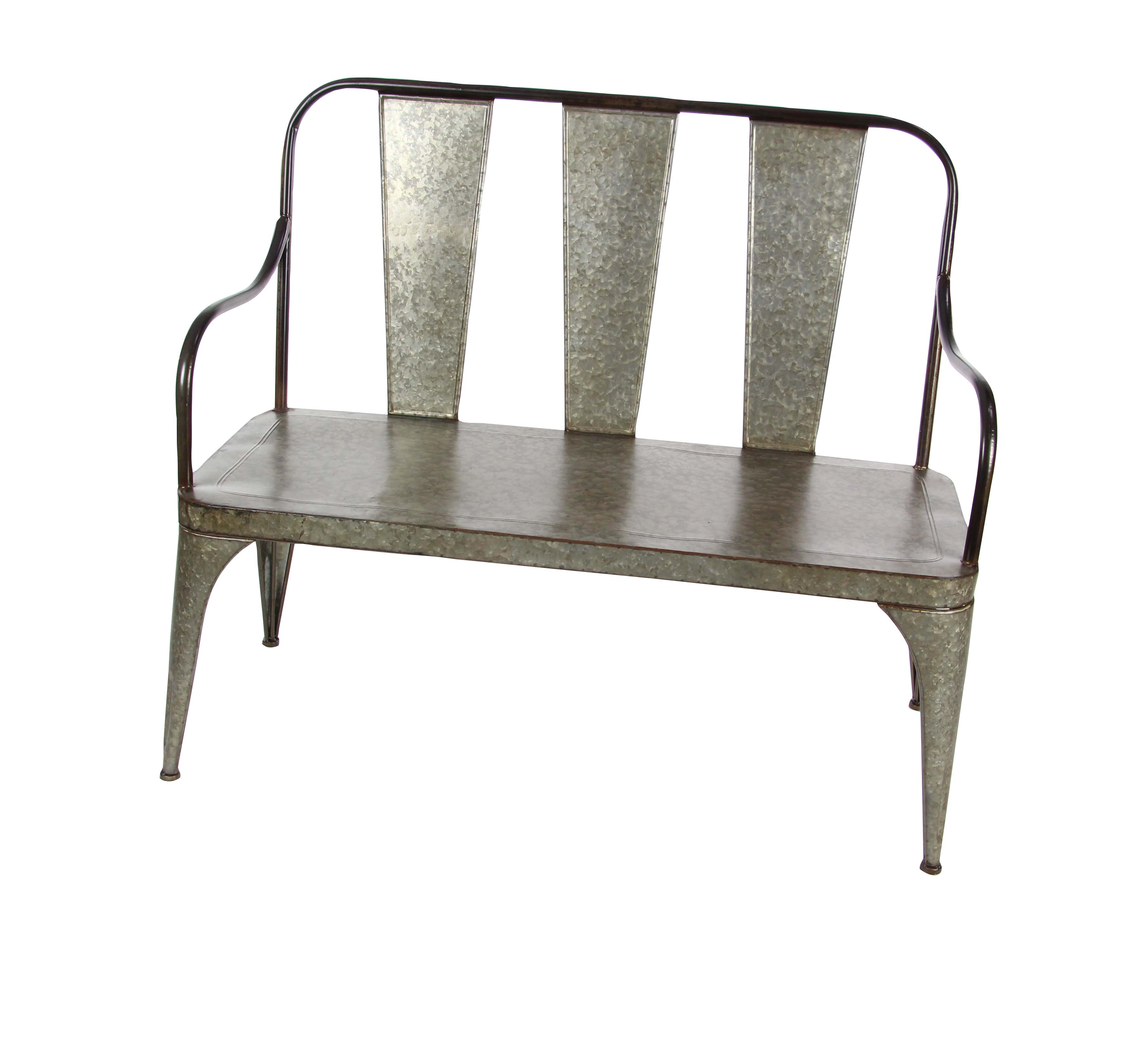 Decmode Farmhouse 40 x 45 inch gray iron bench, Gray