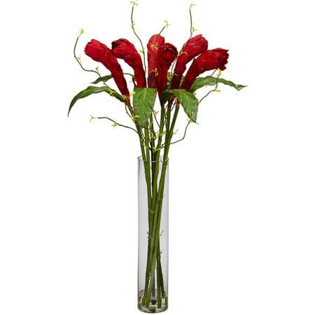 Ginger with Cylinder Vase Silk Flower Arrangement