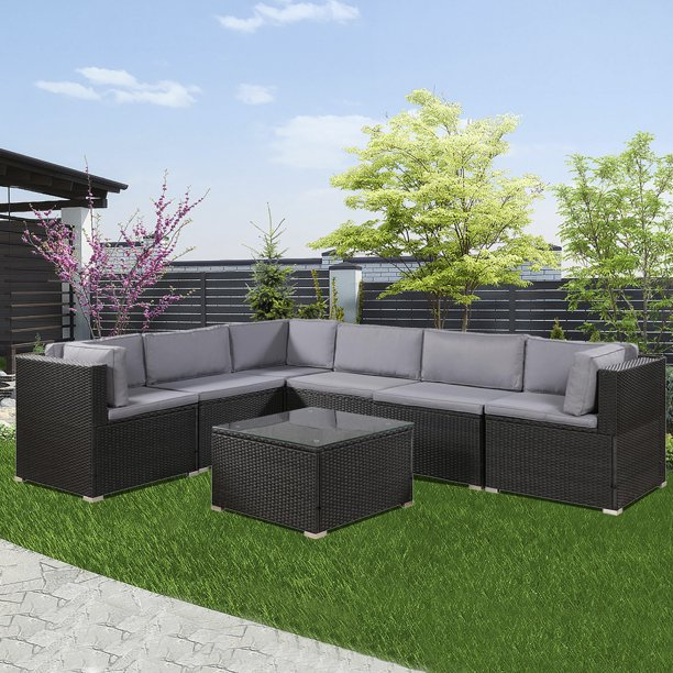 rattan wicker sectional sofa set 7 piece outdoor patio furniture sets patio sectional sofa with cushions coffee table patio conversation sets for
