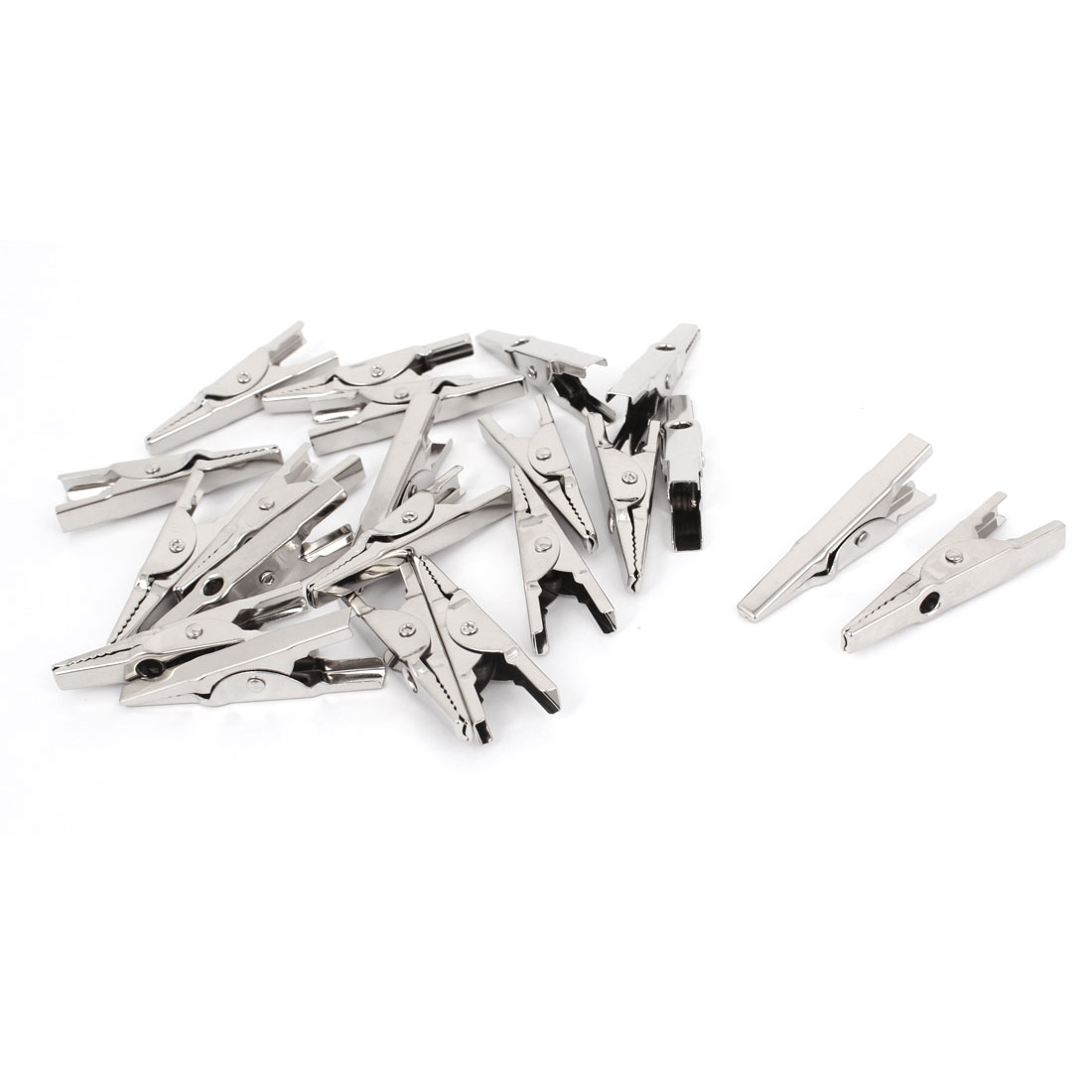 20 Pcs Electric Test Silver Tone Crocodile Alligator Clips Clamps 43mm Long - image 1 of 1