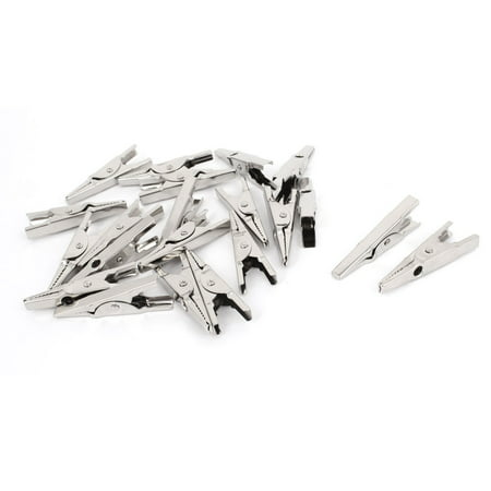 Uxcell 20 Pcs Silver Tone Metal Uninsulated Test  Alligator Clip 43mm Long (Tone Alligator)