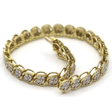 Gemstone Diamond Gold Bracelets (Gem Gallery ltd Yellow Gold Women's Diamond Tennis Bracelet )