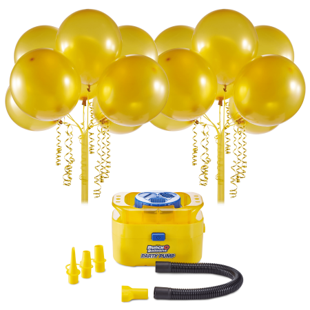 Bunch O Balloons Portable Party Balloon Electric Air Pump Starter Pack, Includes 16ct 11in Self-Sealing Gold Latex (Best Counts With Balloon Pumps)