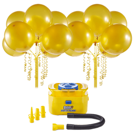 Bunch O Balloons Portable Party Balloon Electric Air Pump Starter Pack, Includes 16ct 11in Self-Sealing Gold Latex Balloons