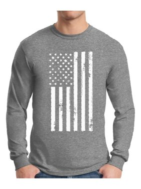 Awkward Styles Men's USA Flag Patriotic Graphic Long Sleeve T-shirt Tops White Independence Day 4th of July