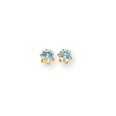Kids 5mm Synthetic Aquamarine Birthstone 14k Yellow Gold Stud Earrings