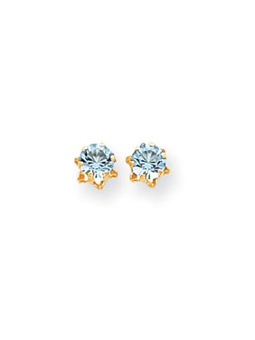 28ba12bce Product Image Kids 5mm Synthetic Aquamarine Birthstone 14k Yellow Gold Stud  Earrings. Black Bow Jewelry Company