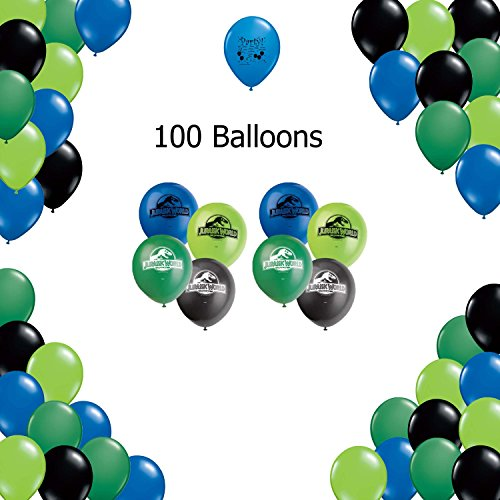 Jurassic World Party Supplies Decoration Latex Balloons - blue, green, dark green and black Jurassic World Party Supplies Balloons 100 count