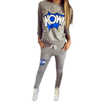 Jogger Set - Womens Gym Tracksuit Pullover Sweatshirt Sweatsuit 2Pcs Sets Casual Jogger Sportswear
